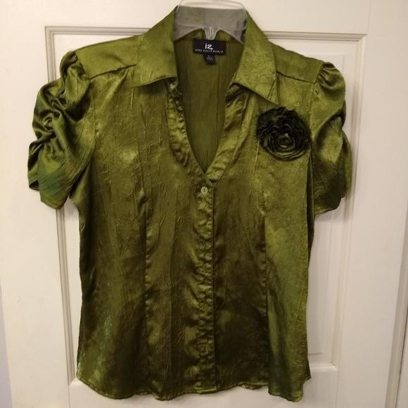 Iz Byer Tops - Iz Byer Dark Yellow-Green Short Sleeve Top